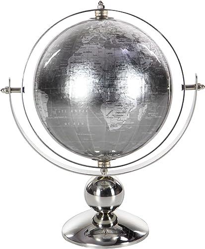 Deco Company Edelstahl-Kugel aus PVC, Braun Weiß Silber, 25,4 x 20,3 cm, Silber, 11  x 6