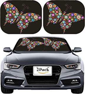 MSD Car Sun Shade Windshield Sunshade Universal Fit 2 Pack, Block Sun Glare, UV and Heat, Protect Car Interior, Image ID: 6222826 Flower Butterfly