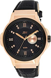 ساعة يد كوارتز بعرض انالوج وسوار من الجلد للرجال من جيه بي دبليو