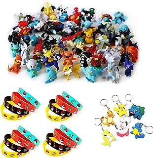 Funnyshow 70 pièces Ensemble de Jouets Pokemon, Pokémon Mini Figures Action Figurines Pokémon Bracelets Porte-clés Pokémon, pour Enfants et Adultes Party Celebration