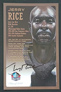 PRO FOOTBALL HALL OF FAME Jerry Rice NFL Signed Bronze Bust Set Autographed Card with COA (Limited Edition #85 of 150)