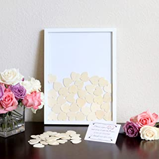 Wedding Alternative Heart Drop Guest Book - Wooden Frame, 2 Large and 70 Small Hearts, Instruction Sign Included