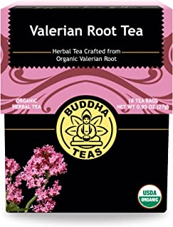 Organic Valerian Root Tea, 18 Bleach-Free Tea Bags – Caffeine Free Tea Supports Healthy Sleep Cycle, Eases Muscle Pain, and Calms the Body and Mind, No GMOs