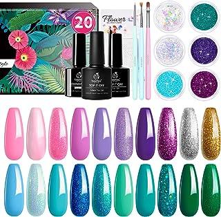 Beetles Gel Nail Polish Kit, Mermaid Mantra 20 Colors Soak Off UV Gel Polish Starter Kit with 1 Base Coat 1 Glossy & 1 Matte Top Coat 3 Nail Brushes 6 Colors Glitter 1 Mermaid Nail Stickers