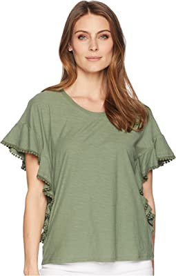 Drop Shoulder Ruffle Sleeve Top w/ Dot Trim