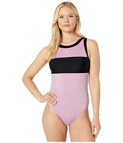 Nike Solid Splice High Neck One-Piece (Frosted Plum) Women