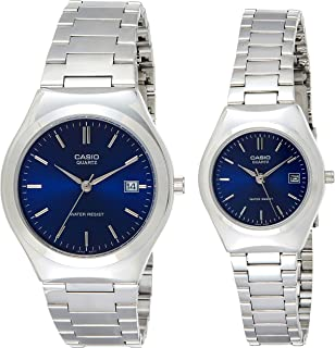 Casio His & Her Blue Dial Stainless Steel Band Couple Watch [Mtp\Ltp-1170A-2A], Analog Display