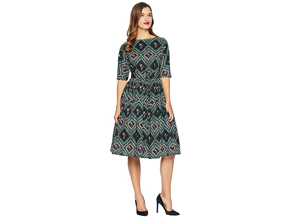 Unique Vintage 1940s Style Sleeved Sally Swing Dress (Green Print) Women