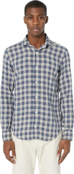 Plaid Linen Spread Collar Shirt