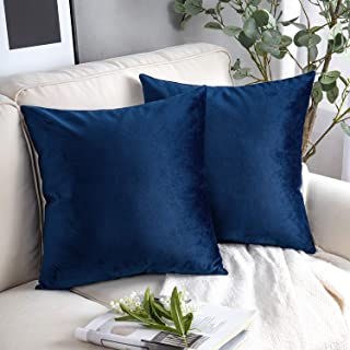 Best Phantoscope Pack of 2 Velvet Decorative Throw Pillow Covers Soft Solid Square Cushion Case for Couch Navy Blue 20 x 20 inches 50 x 50 cm Review
