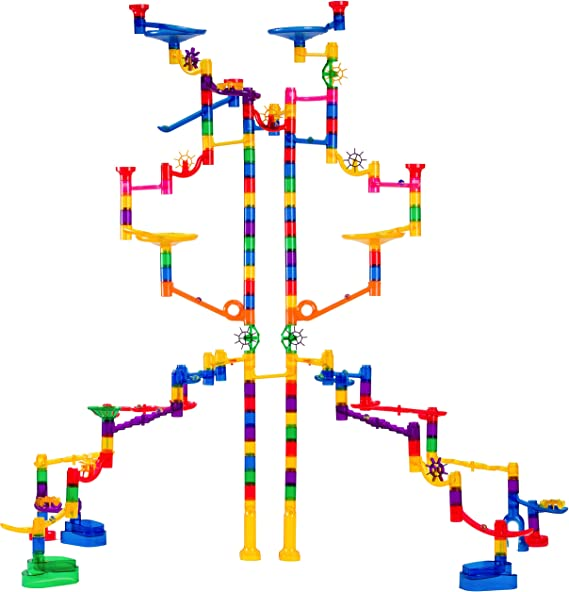 Marble Genius Marble Run Extreme Set - 145 Complete Pieces + Free Instruction App (125 Translucent Marbulous Pieces + 20 Glass Marbles)