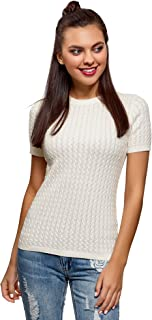 oodji Ultra Women's Short Sleeve Cable Knit Pullover