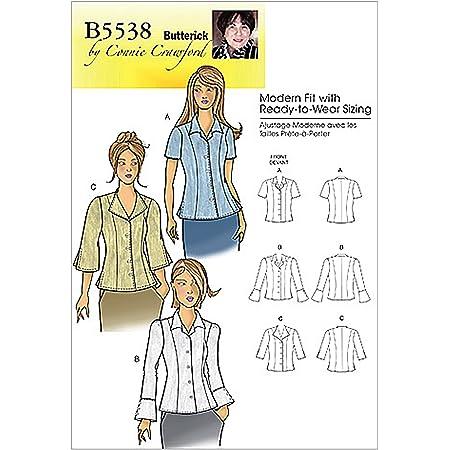 BUTTERICK B5538 - Patrón de Costura para Confeccionar Blusa de Mujer (3 Modelos Diferentes) [en inglés y alemán]