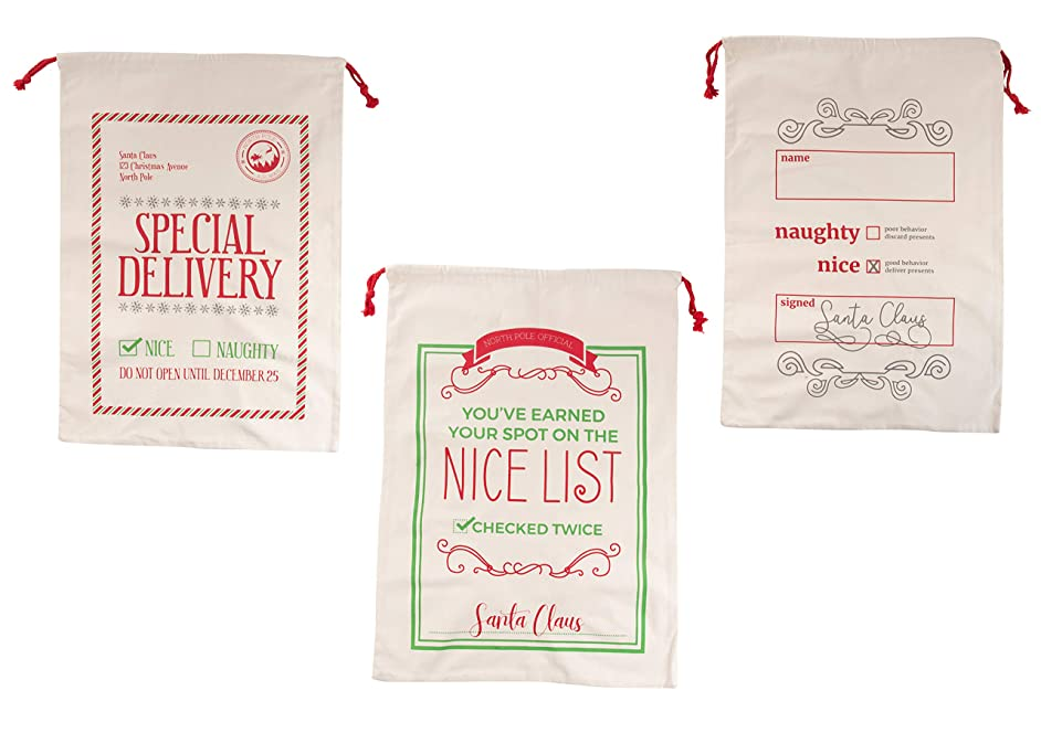 Santa Gift Sacks - 3-Pack Large Cotton Canvas Christmas Drawstring Bag, Holiday Presents Delivery Sacks, Assorted Designs, Beige with Red String, 19.25 x 26.7 Inches