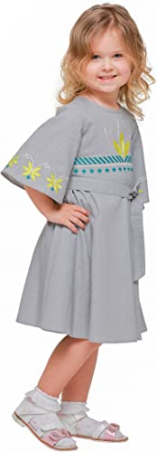 Bébé Fille gris Robe de Boho Style. Vyshyvanka.VêteHommest Bébé Fille Robe. Robe en lin longue.