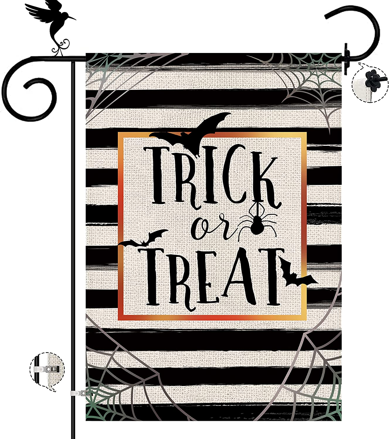 Halloween Garden Flag 12x18 Inch Trick or Treat Double Sided Vertical Buffalo Check Plaid Farmhouse Outdoor Decor Banner with Stopper Clip
