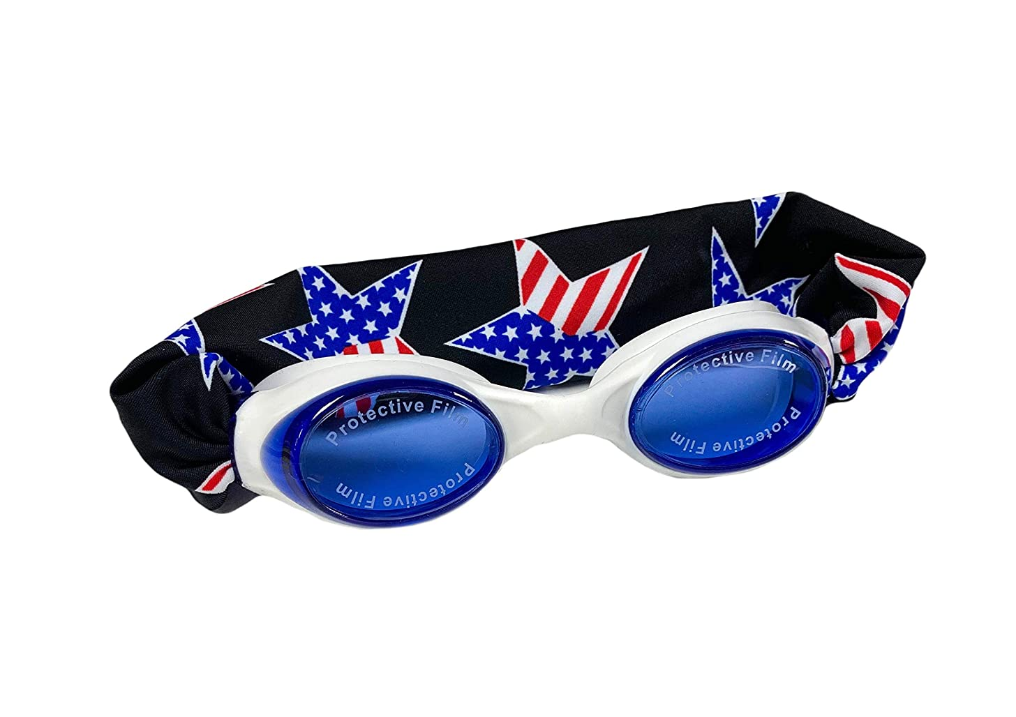 Splash 'Merica Swim Goggles - Fun Fashionable Comfortable - Fits Kids & Adults - Won't Pull Your Hair - Easy to Use - High Visibility Anti-Fog Lenses - Patent Pending