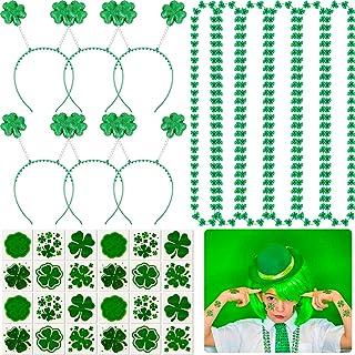 84 Pieces St. Patrick's Day Decoration Kit, 6 Glitter Shamrock Headband Boppers, 6 St. Patrick's Day Shamrock Necklace and...