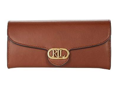 LAUREN Ralph Lauren Leather Continental Wallet (Lauren Tan) Handbags