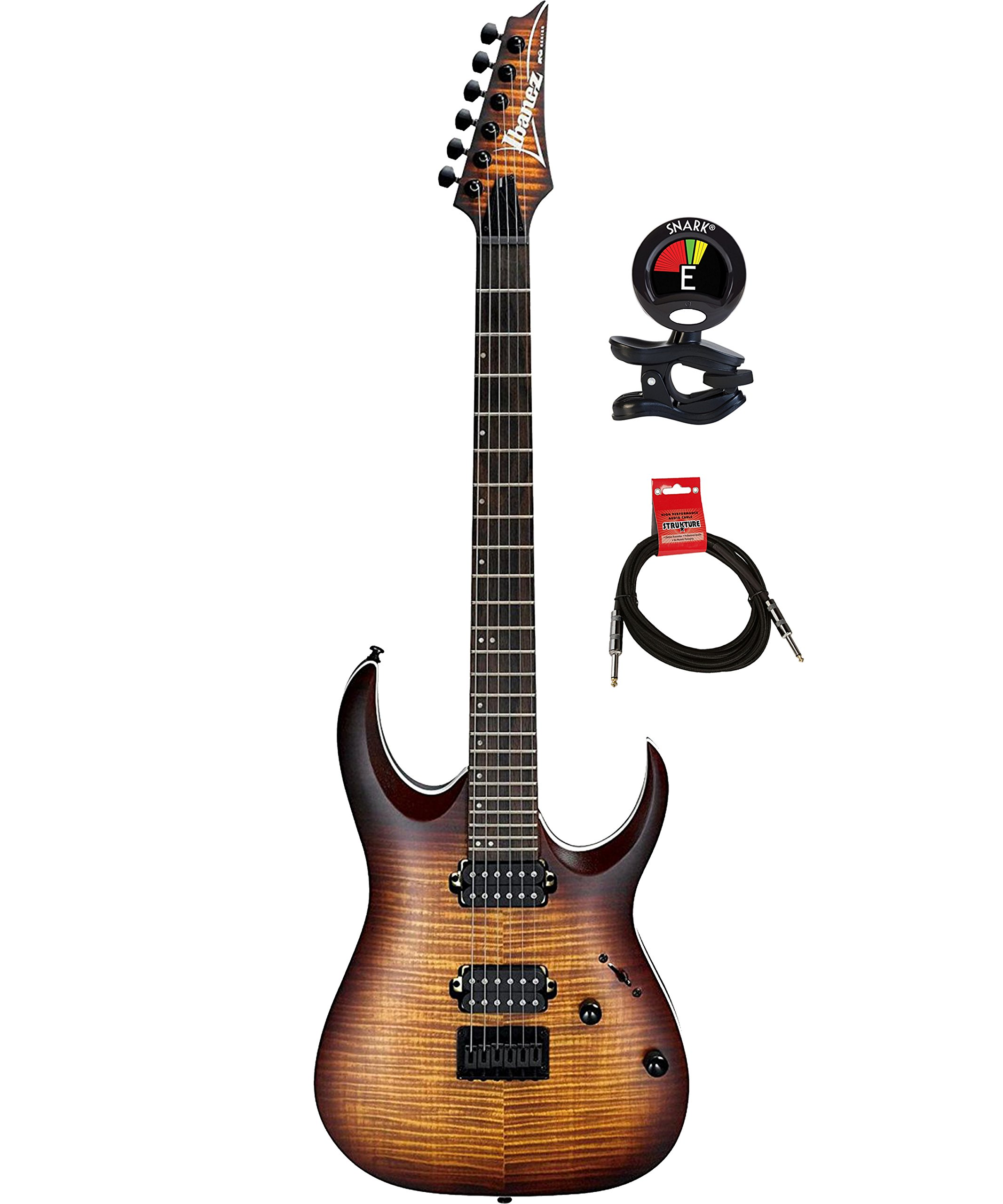 Cheap Ibanez RGA42FMDEF RGA Series 6 Strings Solid Body Electric Guitar Package with Clip on Guitar Tuner and Instrument Cable (Dragon Eye Burst Flat) Black Friday & Cyber Monday 2019