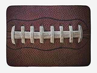 Lunarable Sports Bath Mat, American Football Leather Laces Fun Traditional Sport Close up Photo Print, Plush Bathroom Decor Mat with Non Slip Backing, 29.5