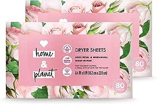 Love Home and Planet Dryer Sheets Rose Petal & Murumuru 80 Count (Pack of 2)