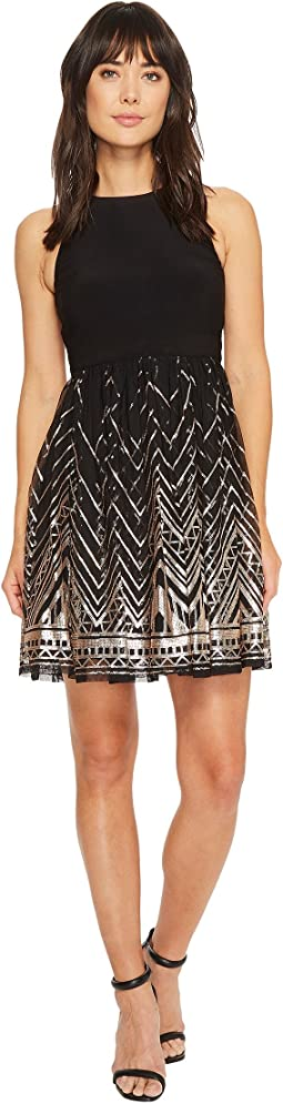 Vince Camuto - Ity/Sequin Sleeveless Twofer Fit and Flare Dress