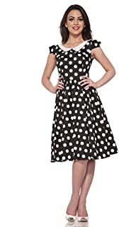 Hearts & Roses Carla Dress in White Dots (Shipped from The US and US Sizes)