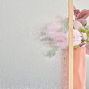 FEOMOS Rain Glass Window Film UV Blocking Removable Window Sticker Static Cling Film Vinyl Decorative Glass Film for Windows Doors Privacy Non Adhesive 17.7 x 78.7 inches