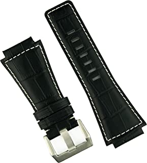 B & R Bands Bell & Ross BR01 BR03 Black Gator White Stitch Leather Watch Band Strap - Medium Length