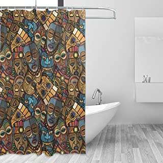 WIHVE Shower Curtain African Craft Voodoo Tribal Mask 60 x 72 Inch Four Seasons Bath Decorations Bathroom Accessories Waterproof Decor Sets with 12 Hooks/Easy Care Polyester Fabric Stall Curtain