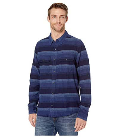 Toad&Co Indigo Flannel Slim Long Sleeve Shirt (Medium Indigo Horizontal Stripe) Men
