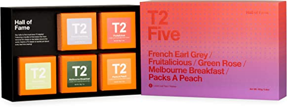 T2 Tea Five Hall of Fame - 5 Mini Gift Cubes of Classic Black, Green, Fruit & Herbal Teas to Suit Every Taste, 160 g