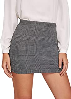 DIDK Elegante falda a cuadros para mujer, para oficina, estilo lápiz, ajustada a la figura, minifalda a cuadros con línea ...