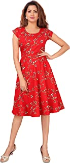 DESI VESI Women's Floral Knee Length Midi Western Dress