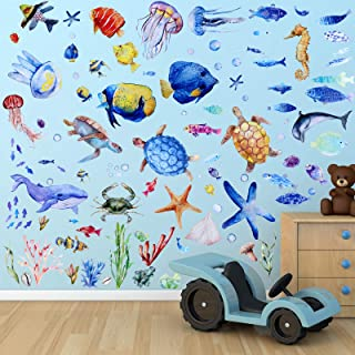 116 Pieces Under The Sea Wall Decals Fish Wall Decals Fish Wall Nursery Stickers Removable Peel and Stick Art for Kids Bab...
