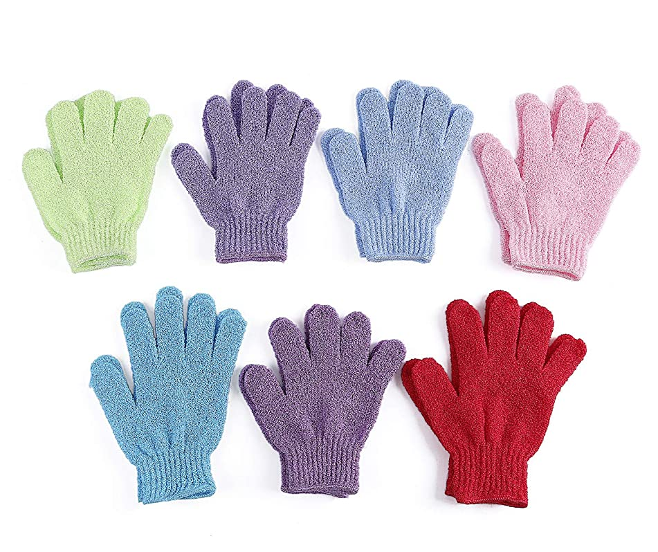 7 Pairs Double Sided Exfoliating Gloves Body Scrubber Scrubbing Glove Bath Mitts Scrubs for Shower, Body Spa Massage Dead Skin Cell Remover, 7 Colors
