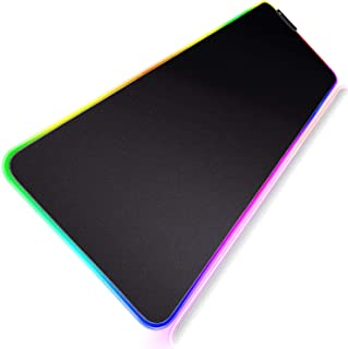 Geecol RGB Led Gaming Mouse Pad, Oversized Glowing Soft Extended Mousepad with Non-Slip Rubber Base Computer Keyboard Pad Mat, 80 * 30cm(31.5 * 12 Inch)