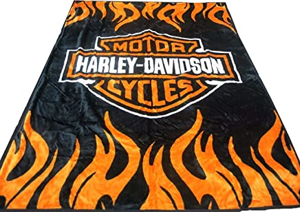 Elegant Comfort Soft Plush Classic Black Harley Davidson Blanket/Throw Full Or Queen Size
