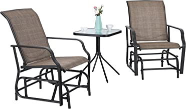PHI VILLA Patio Swing Glider Set 3 PC Bistro Set with 2 Rocking Chairs & 1 Table, Brown