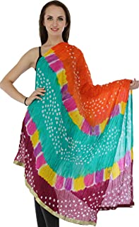 Exotic India Multicolored Bandhani Tie-Dye Crinkled Dupatta with Gota Border - Color Spicy Orange