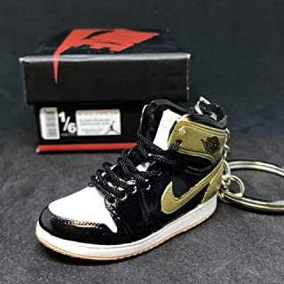 Air Jordan I 1 Retro Top 3 Gold Toe Black NRG OG Sneakers Shoes 3D Keychain Figure 1:6 + Shoe Box