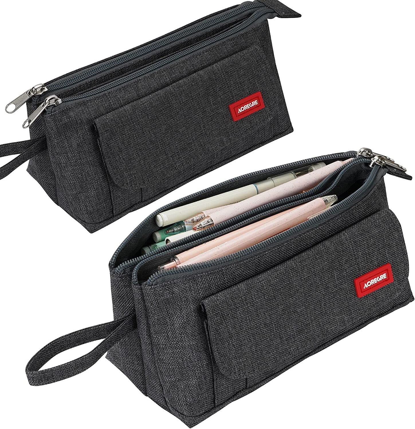 Pencil Case with Two Large Compartments Pocket Big Capacity Pencil Pouch Holder Pen Case Makeup Bag School Supplies Office Stationery Storage Gift for High School Students Girl Boy Adult Teen (Gray)