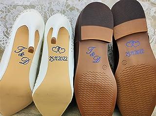 Personalisierte Schuhsticker mit Initialen und Datum aus Glitzerfolie - Farbe wählbar - Hochzeit Schuhaufkleber Farbe wähl...