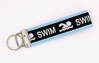 Swim Ribbon Wristlet Key Fob Keychain Light Blue