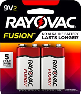 Rayovac Fusion 9V Batteries, Premium Alkaline 9V Battery (2 Count)