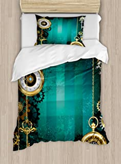 Ambesonne Industrial Duvet Cover Set Twin Size, Antique Items Watches Keys and Chains with Steampunk Influences Illustration Art Theme, A Decorative 2 Piece Bedding Set with 1 Pillow Sham, Multicolor
