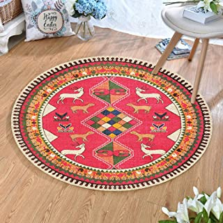 Round Rugs Thin and Light Carpet,for Living Room & Bedroom & Computer Chair Non-Slip Short Hairs Mats (Size : 80CM),12