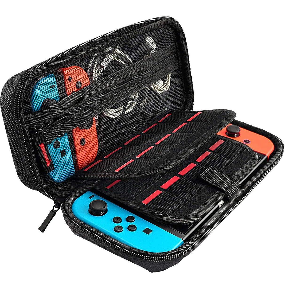 文明化する侵入するアジテーションスイッチケース 任天堂スイッチ専用の便利収納バッグ、Nintendo Switch ケース、Switch保護ガラスフィルム付き、20つのゲームカードを収納でき、スペアのJoy Con及び他の部品、柔らかいナイロンファスナー及び信頼的ハンドルデザイン、硬い殻の保護,汚染と塵を防止し、防振、衝撃に耐えます
