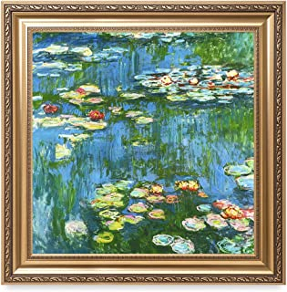 DECORARTS - Water Lily Pond 1914, Claude Monet Art Reproduction. Giclee Print& Museum Quality Framed Art for Wall Decor. Framed Size: 30x30